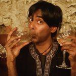 Jai drinking wine